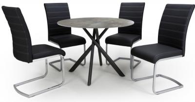 Shankar Avesta Grey Glass Round Dining Table and 4 Callisto Black Chairs