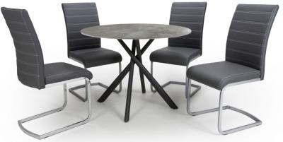 Shankar Avesta Grey Glass Round Dining Table and 4 Callisto Grey Chairs