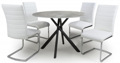 Shankar Avesta Grey Glass Round Dining Table and 4 Callisto White Chairs