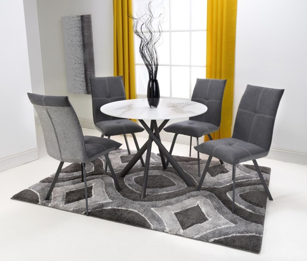 Shankar Avesta 3D Printed Grey Glass Round Dining Table and 4 Ariel Dark Grey Chairs