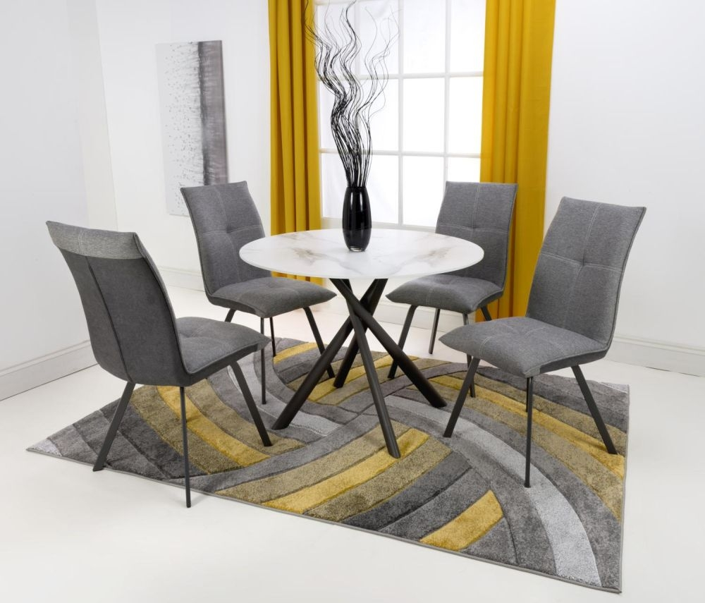 Shankar Avesta 3D Printed Grey Glass Round Dining Table and 4 Ariel Light Grey Chairs