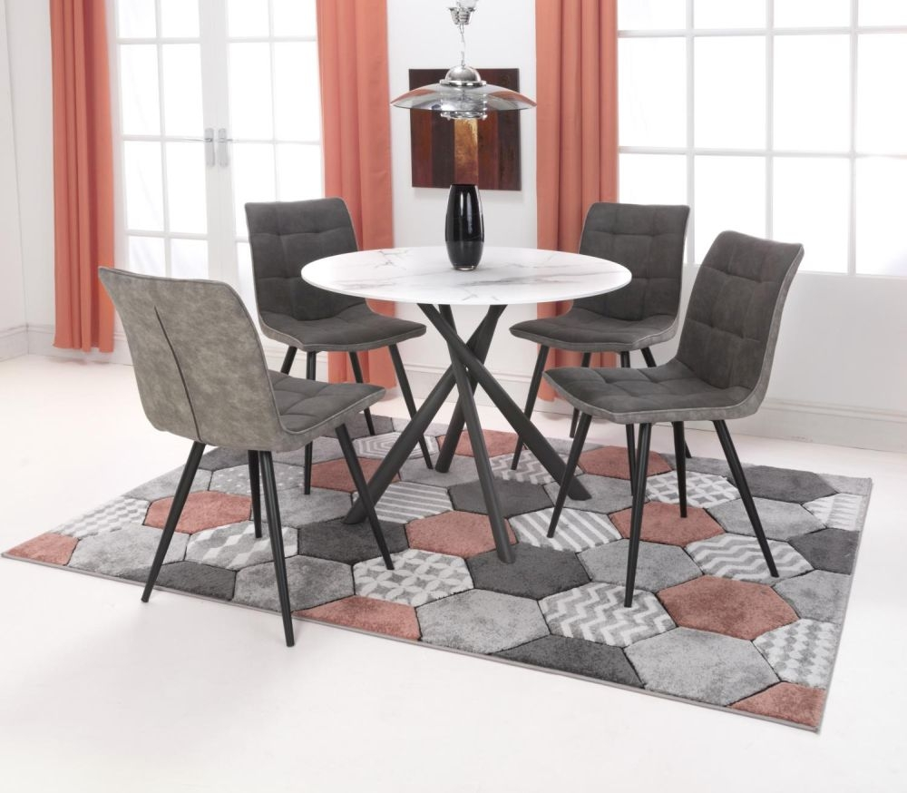 Shankar Avesta 3D Printed Grey Glass Round Dining Table and 4 Rodeo Dark Grey Chairs