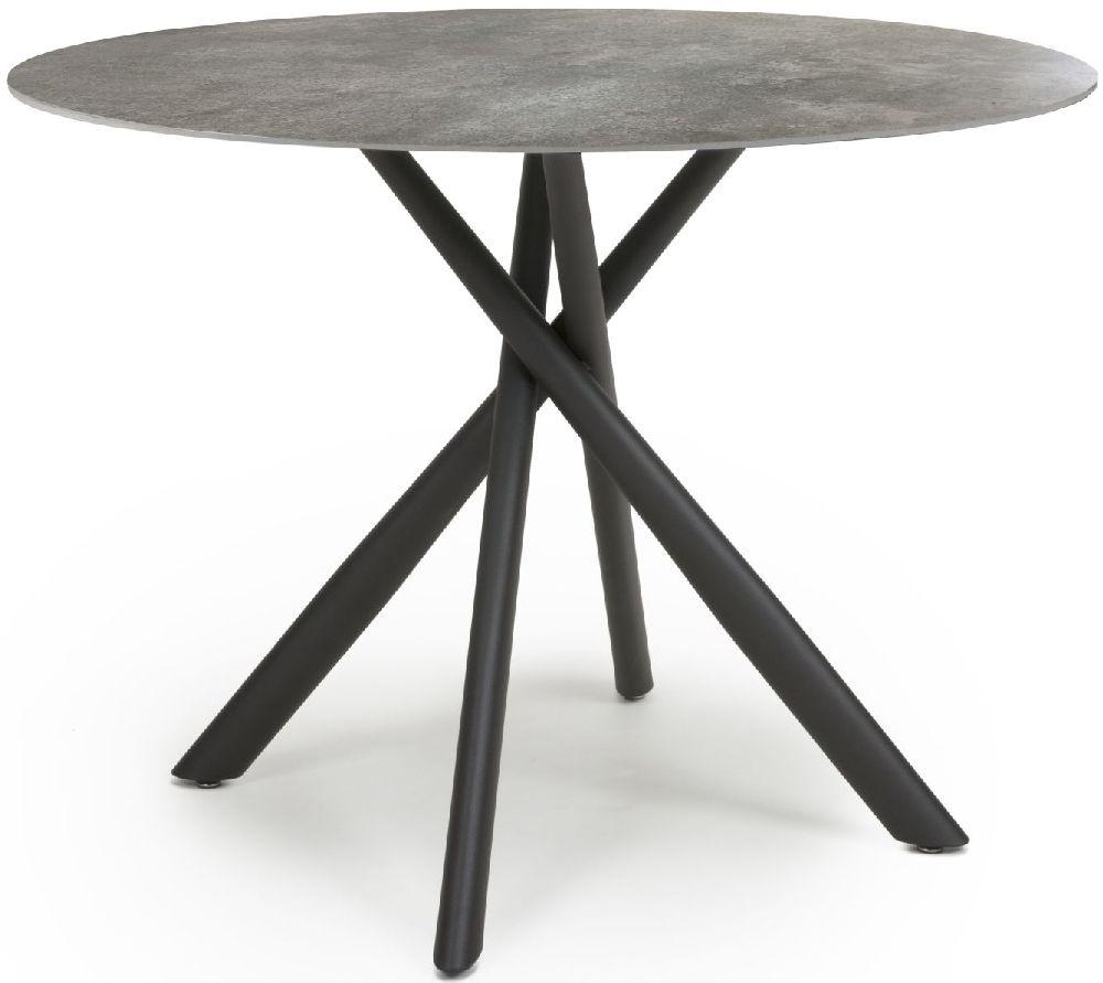 Shankar Avesta Grey Marble Effect Round Dining Table