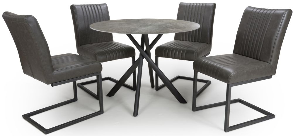 Shankar Avesta Grey Glass Round Dining Table and 4 Archer Grey Chairs