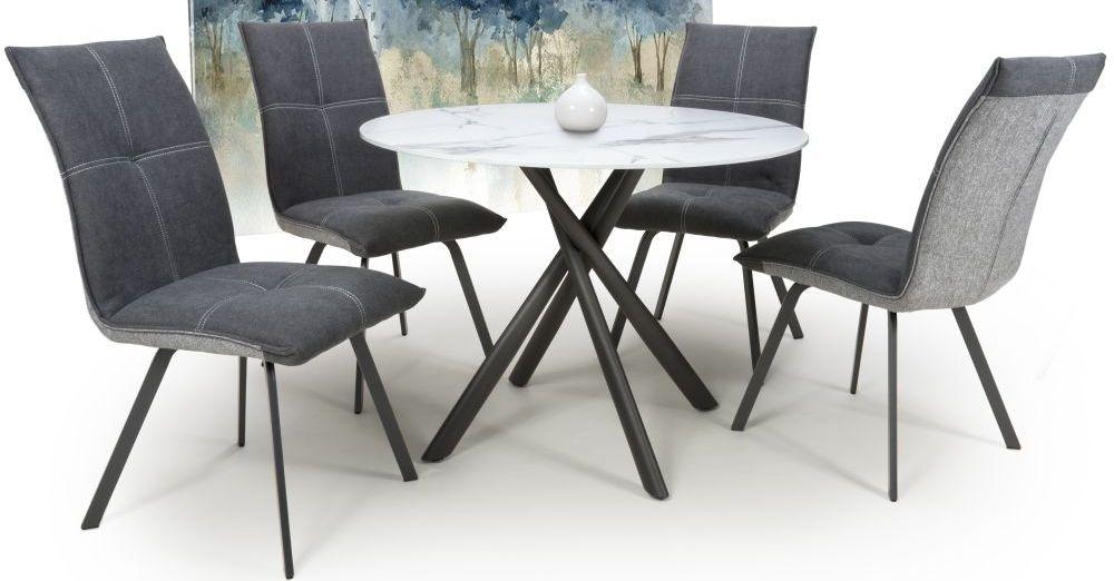 Shankar Avesta White Glass Round Dining Table and 4 Ariel Dark Grey Chairs