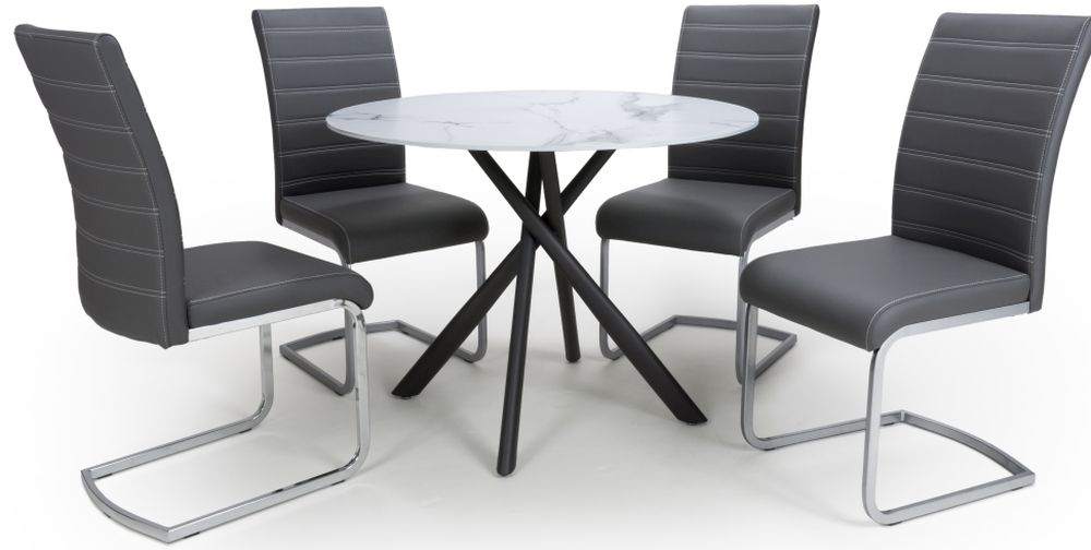 Shankar Avesta White Glass Round Dining Table and 4 Callisto Grey  Chairs