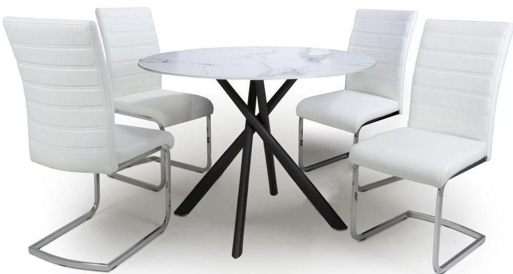 Shankar Avesta White Glass Round Dining Table and 4 Callisto White Chairs