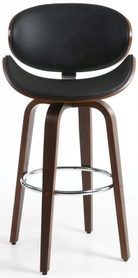 Shankar Bachelor Black Walnut Leather Match Bar Chair