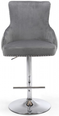 Shankar Cairo Grey Brushed Velvet Bar Stool