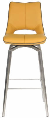 Shankar Mako Yellow Leather Match Swivel Bar Chair