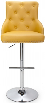 Shankar Rocco Yellow Leather Match Tufted Studded Bar Stool