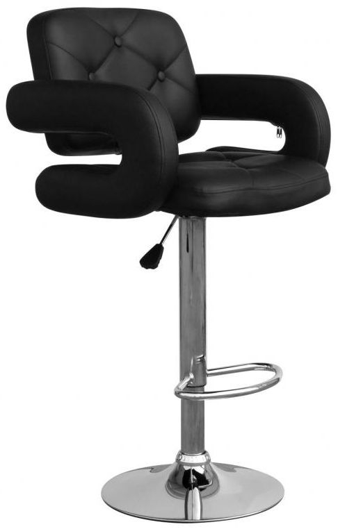 Shankar Colby Leather Match Bar Stool - Black (Pair)