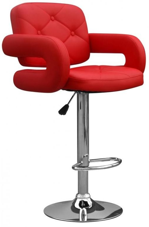 Shankar Colby Leather Match Bar Stool - Red (Pair)