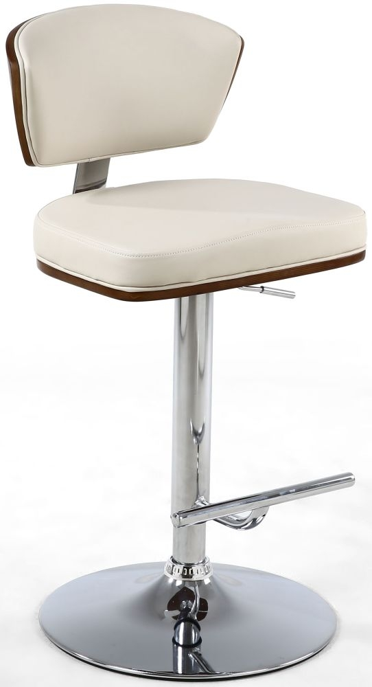 Shankar Tosca Cream Walnut Leather Match Bar Stool
