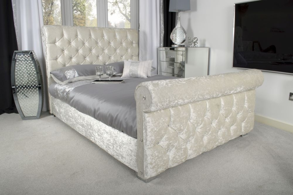 Shankar Pearl Crushed Velvet Bed with Chrome Square Edge Feet