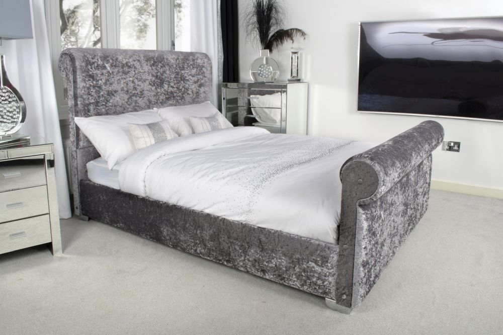 Shankar Steel Crushed Velvet Upholstered Bed with Chrome Square Edge Feet