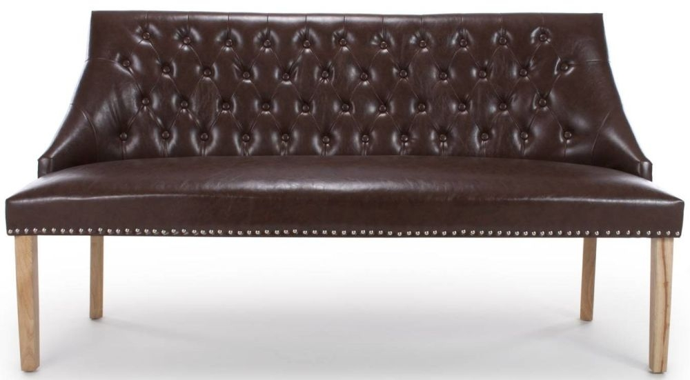 Shankar Camberwell Antique Brown Leather Match Tufted Studed Large Banquette Bench