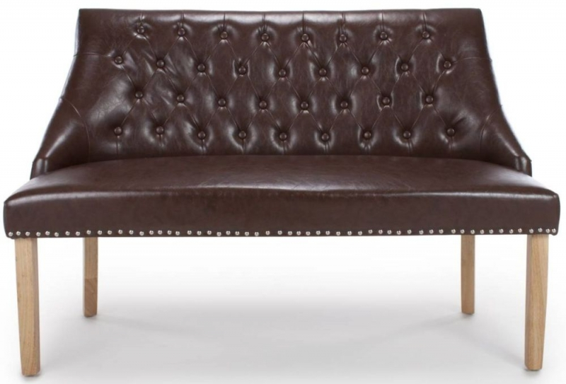 Shankar Camberwell Antique Brown Leather Match Tufted Studded Medium Banquette Bench
