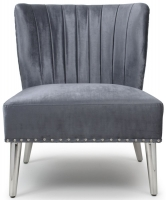 Shankar Charcoal Silken Fabric Upholstered Armchairs