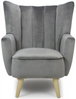 Shankar Grey Brushed Velvet Wing Armchairs
