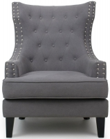 Shankar Grey Stonewash Upholstered Winged Back Armchairs