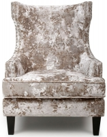 Shankar Grey Stonewash Winged Back Upholstered Armchairs
