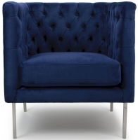 Shankar Indigo Blue Brushed Velvet Duchess Square Edge Armchairs