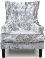 Shankar Majesty High Grade Silver Crushed Velvet Armchair
