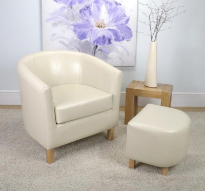 Shankar Bonded Leather Ivory Tub Chair Set