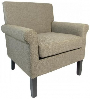 Shankar Hamilton Herringbone Plain Armchair - Brown