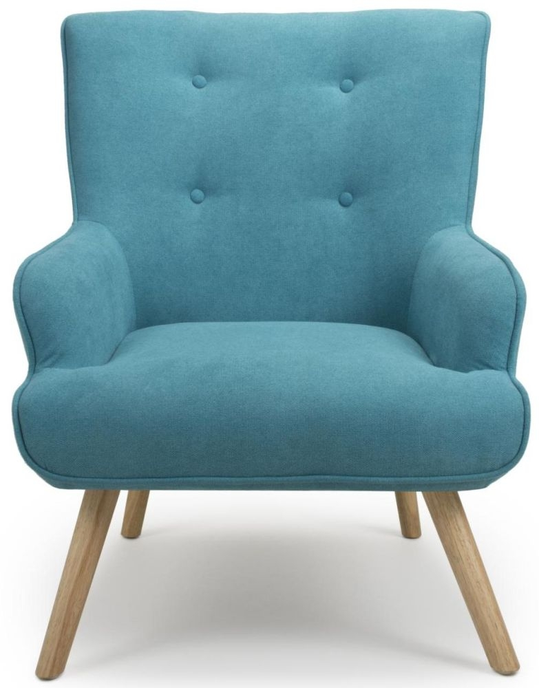 Shankar Cinema Turquoise Blue Chenille Effect Tufted Accent Armchair