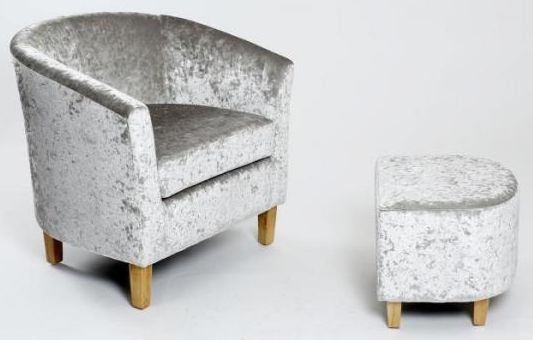 Shankar Crushed Velvet Tub Chair Set - Silver