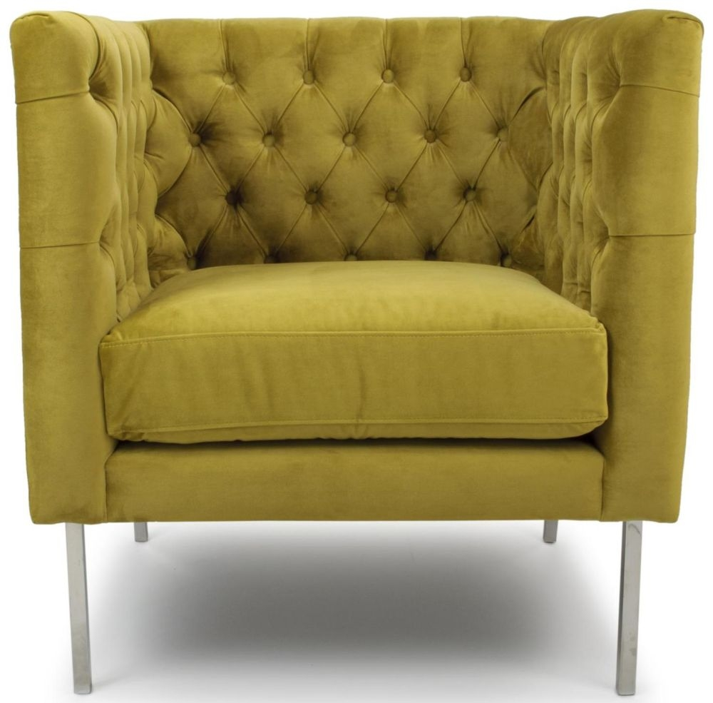 Shankar Duchess Goldenrod Brushed Velvet Square Edge Tufted Armchair