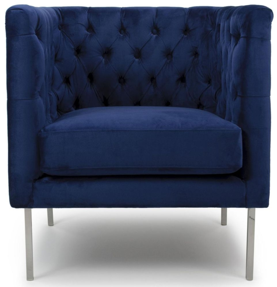 Shankar Duchess Indigo Blue Brushed Velvet Square Tufted Armchair
