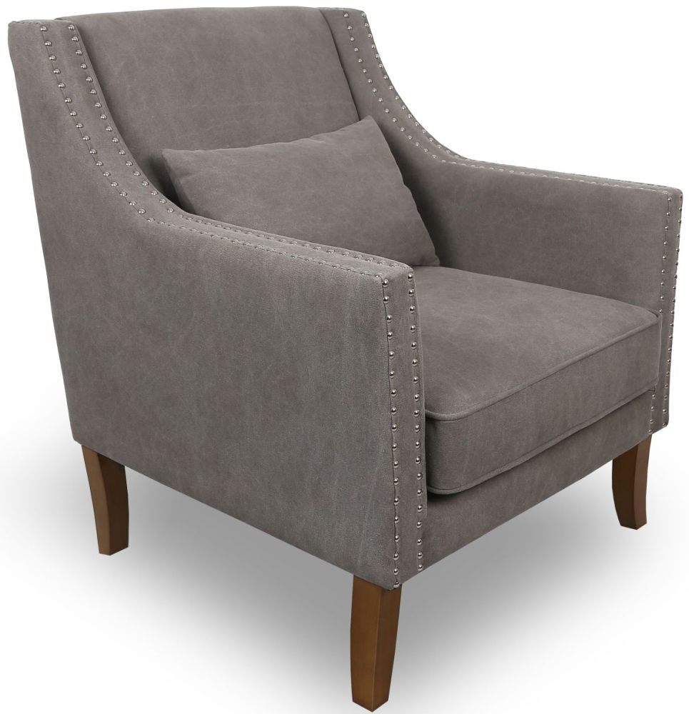 Shankar Grey Stonewash Upholstered French Armchairs