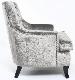 Shankar Jamestown Crushed Velvet Armchair - Silver