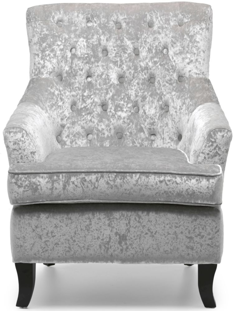 Shankar Jamestown Silver Crushed Velvet Armchair