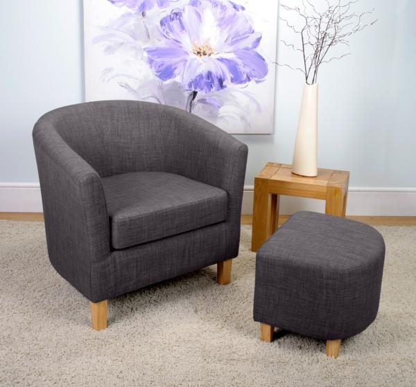 Shankar Linen Effect Tub Chair Set - Charcoal