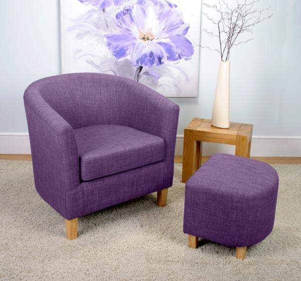 Shankar Linen Effect Tub Chair Set - Plum