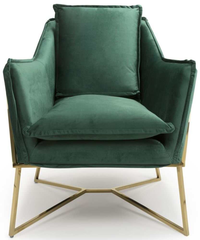 Shankar London Green Brushed Velvet Accent Armchair