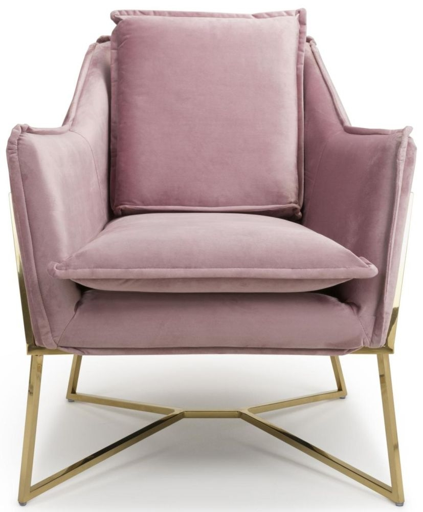 Shankar London Pink Blush Brushed Velvet Accent Armchair