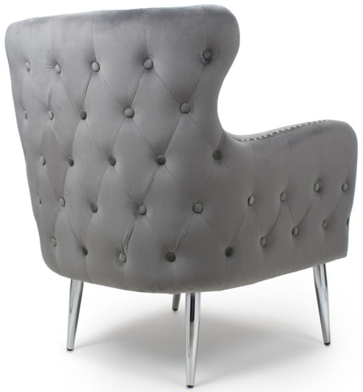 Shankar Marquess Grey Brushed Velvet Tufted Studded Wing Back Accent Armchair