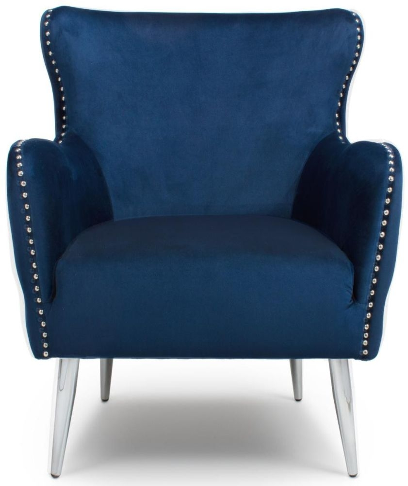 Shankar Marquess Ocean Blue Brushed Velvet Tufted Studded Wing Back Accent Armchair