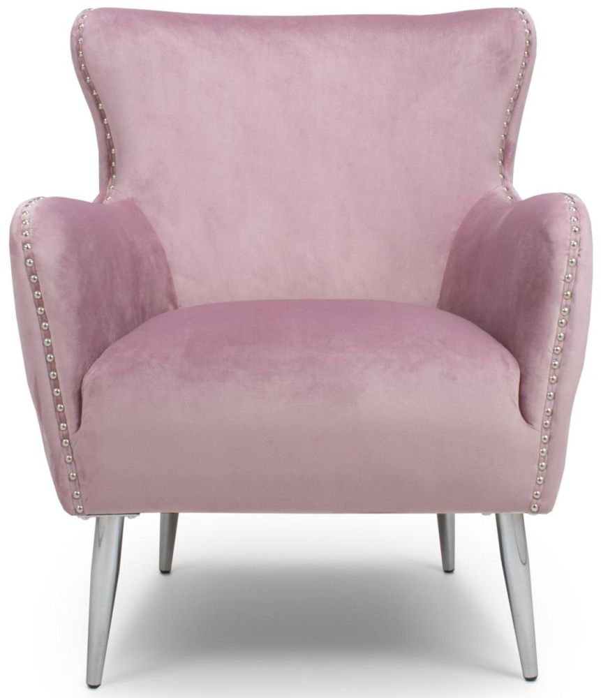 Shankar Marquess Pink Blush Brushed Velvet Tufted Studded Wing Back Accent Armchair