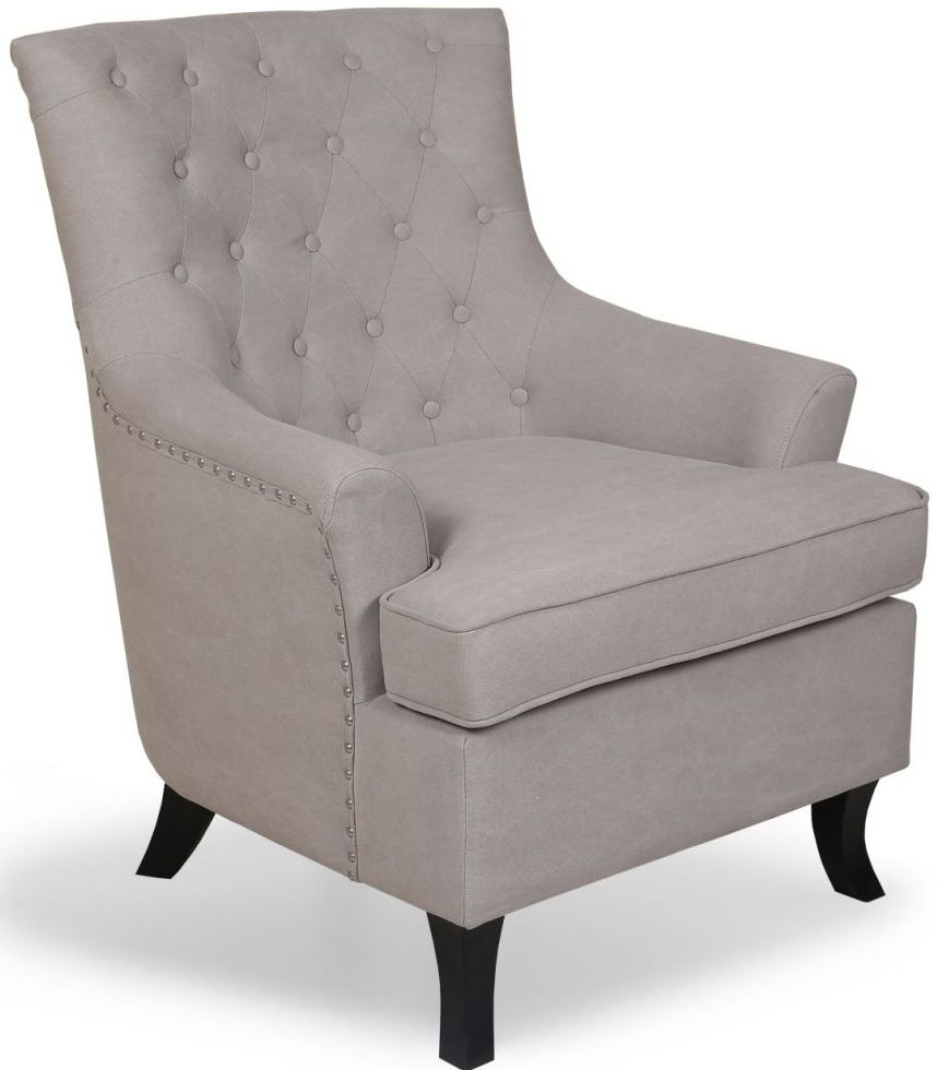Shankar Natural Stonewash Buttoned Fabric Armchair