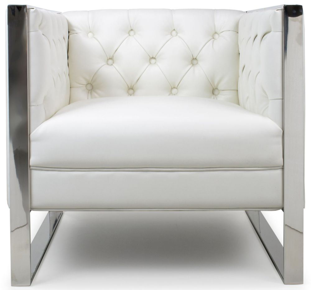 Shankar Oyster White Leather Match Modern Empire Square Edge Armchairs