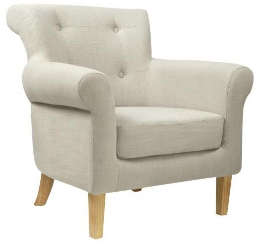 Shankar Pittsburgh Fabric Armchair - Light Grey