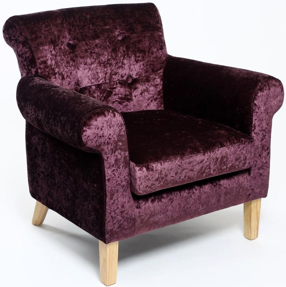 Shankar Pittsburgh Grape Crushed Velvet Tufted Armchairs