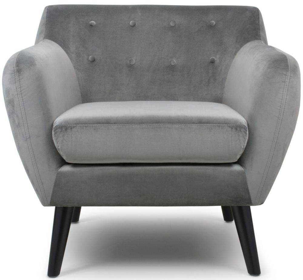 Shankar Riva Grey Brushed Velvet Armchair