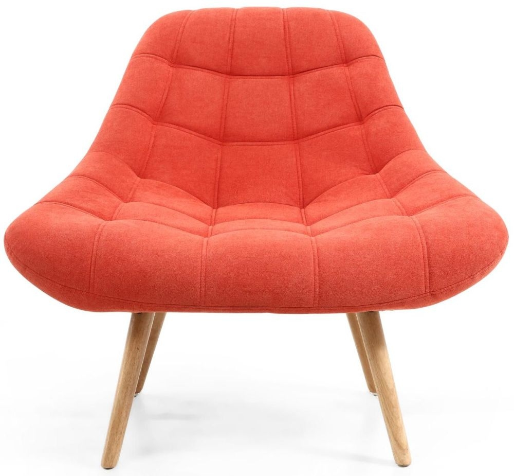 Shankar Shell Orange Brick Tufted Accent Armchair